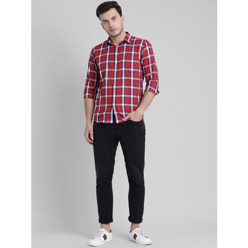 Being Fab Men Red & White Slim Fit Checked Casual Shirt