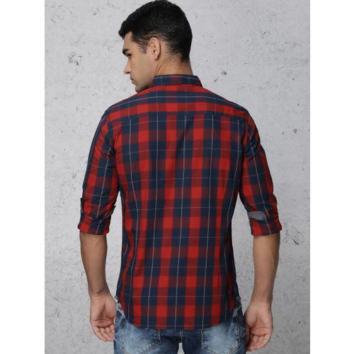 Ecko Unltd Men Red & Navy Blue Slim Fit Checked Casual Shirt