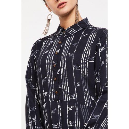 GLOBAL DESI Printed Band Collar Maxi Dress