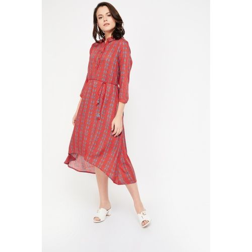 GLOBAL DESI Printed Belted Asymmetrical Dress