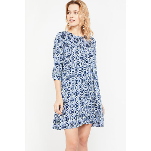 GLOBAL DESI Printed Three-quarter Sleeves Dress