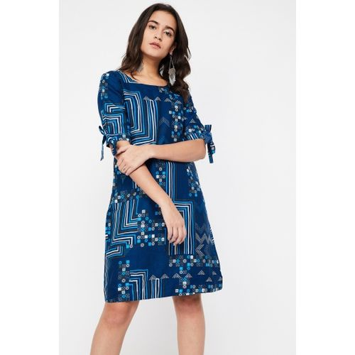 GLOBAL DESI Printed Tie-Up Sleeve Shift Dress