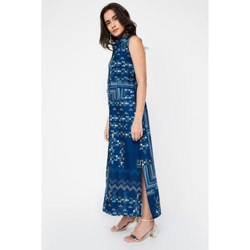 GLOBAL DESI Printed Collared Maxi Dress