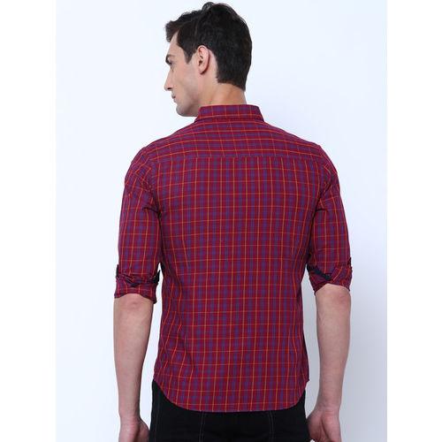 LOCOMOTIVE Men Maroon & Mustard Slim Fit Checked Casual Shirt