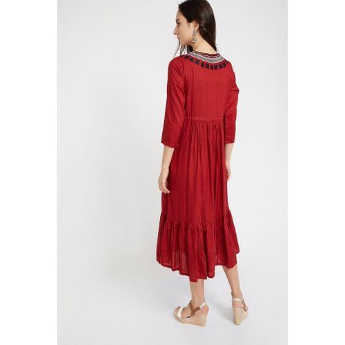GLOBAL DESI Printed Tie-Up Tiered Midi Dress