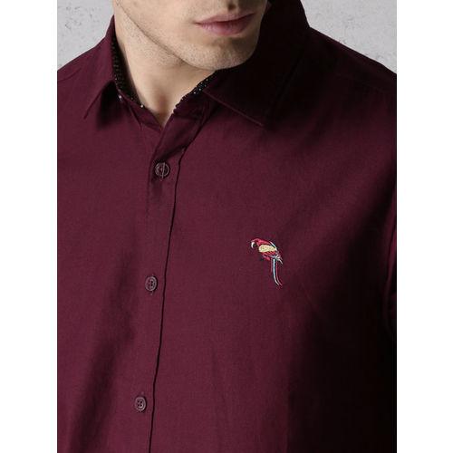 Ecko Unltd Men Maroon Regular Fit Solid Casual Shirt