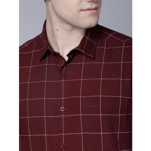 HIGHLANDER Men Maroon Slim Fit Checked Casual Shirt