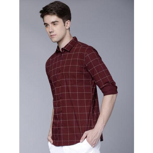 HIGHLANDER Men Maroon Slim Fit Checked Casual Shirt