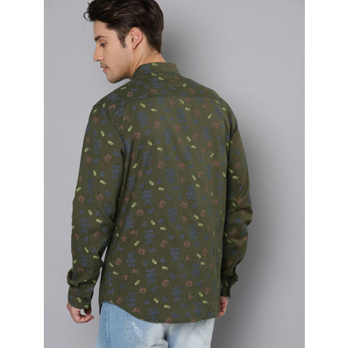 Kook N Keech Disney Men Olive Green Regular Fit Printed Casual Shirt