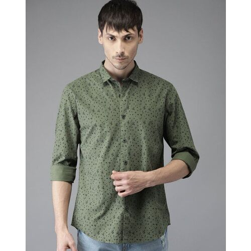 Bene Kleed Men Olive Green Slim Fit Printed Casual Shirt