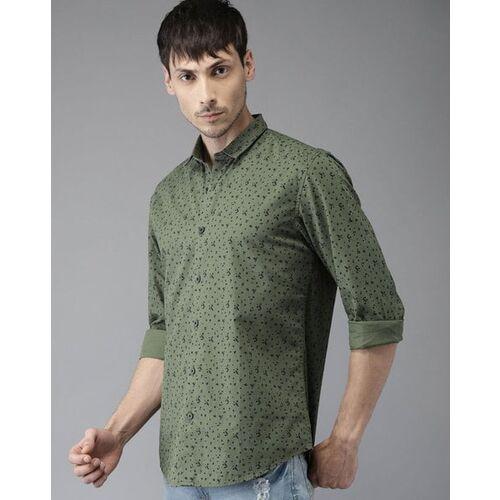 Bene Kleed Men Olive Green Slim Fit Printed Casual Shirt