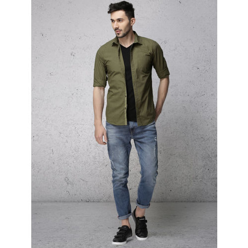 Ecko Unltd Men Olive Green Slim Fit Printed Casual Shirt