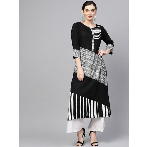 ANAISA Women Black & White Striped Straight Kurta