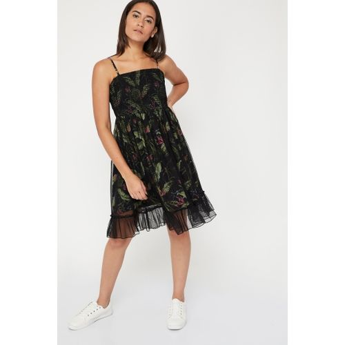 GINGER Printed Smock Detailed Strappy Dress