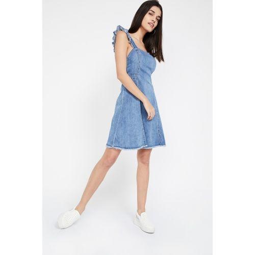 ONLY Solid Frayed Hem Denim Dress