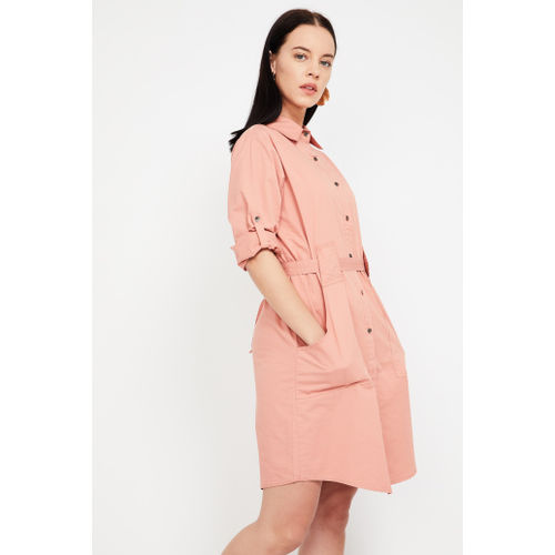 FAME FOREVER Solid Shirt Dress with Sash Tie-Up