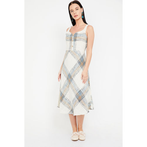 CODE Checked Sleeveless Midi Dress