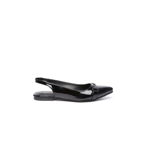 Monrow Women Black Solid Synthetic Mules