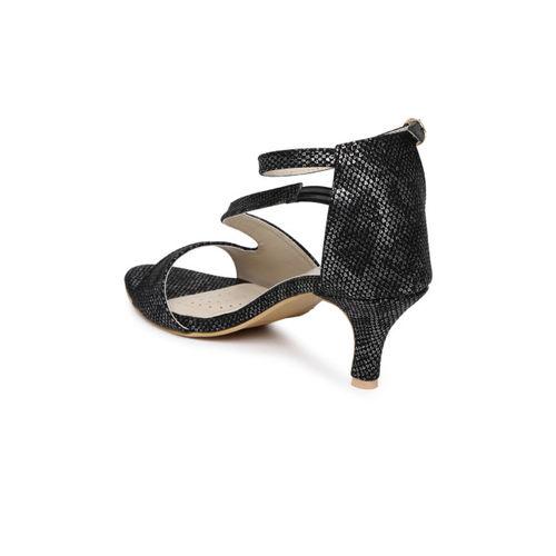Monrow Women Black & Silver-Toned Printed Heels