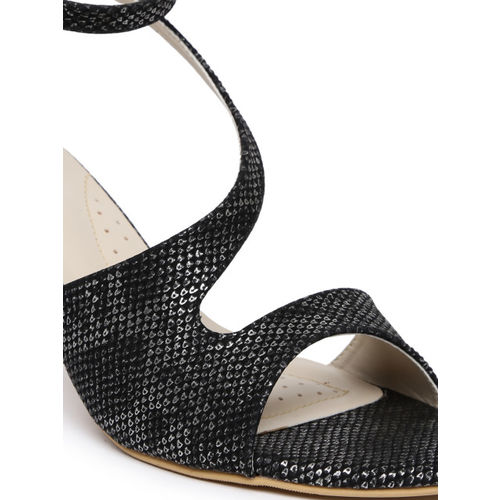 Monrow Women Black & Silver-Toned Printed Heels