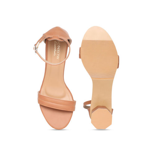 Monrow Women Brown Solid Sandals