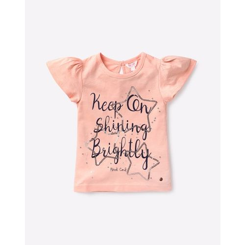 POINT COVE Typographic Print T-shirt with Sequins