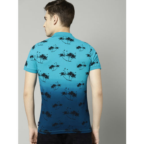 French Connection Men Blue Printed Polo Collar T-shirt
