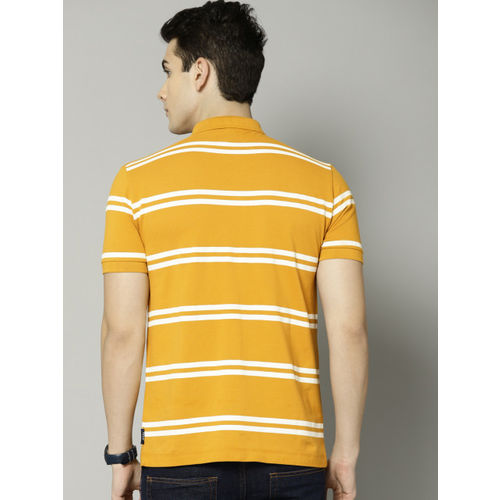 French Connection Men Mustard & White Striped Polo Collar T-shirt