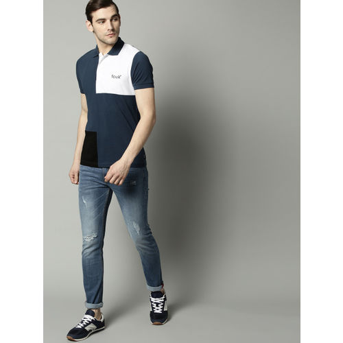 French Connection Men Navy Blue & White Colourblocked Polo Collar T-shirt