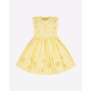 Sleeveless A-line Dress with Embroidered Schiffli