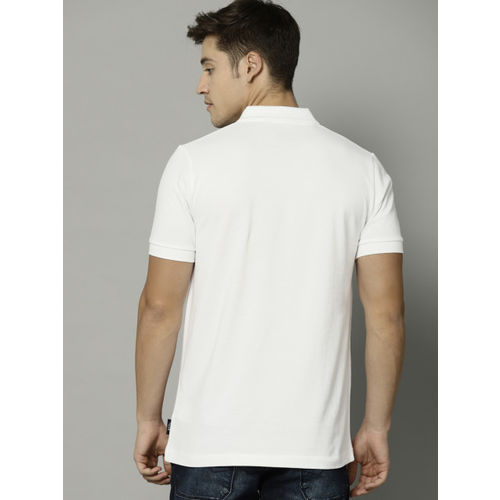 French Connection Men White & Pink Printed Polo T-shirt