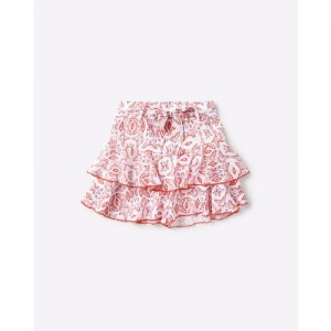 POINT COVE Printed Ruffled Skorts with Fabric Belt