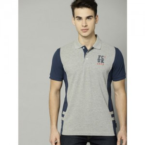 French Connection Men Grey Melange Solid Polo T-shirt