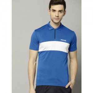 French Connection Men Blue Colourblocked Polo Collar T-shirt