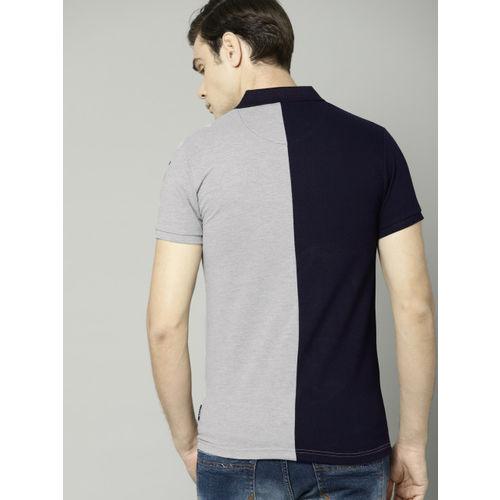 French Connection Men Navy Blue & Grey Colourblocked Polo Collar T-shirt
