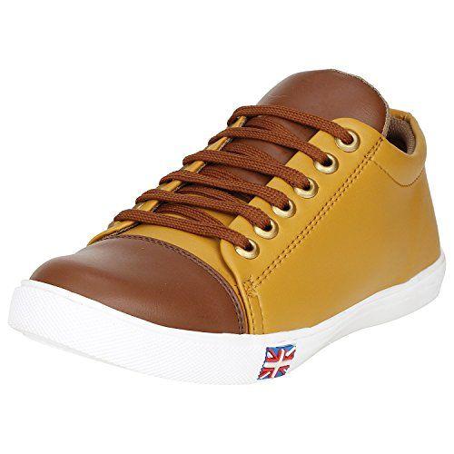 Kraasa Men's Brown Camel Canvas Rocking Sneakers (UK 10)