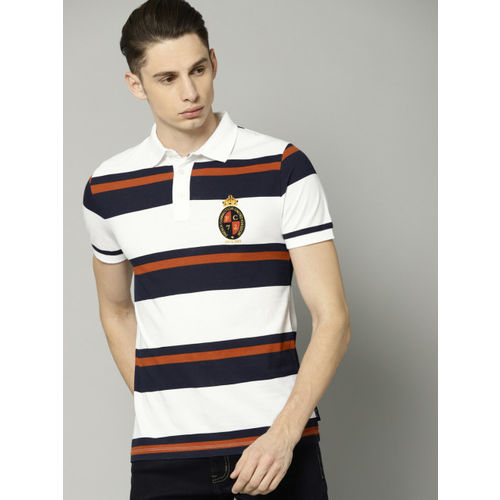 6b78fb0d Buy French Connection White Striped Slim Fit Polo T-Shirt online ...