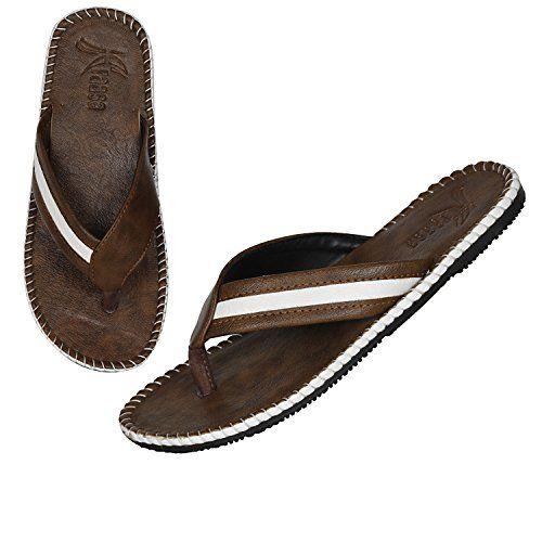 Kraasa Men's Camel White Synthetic Slippers UK 9