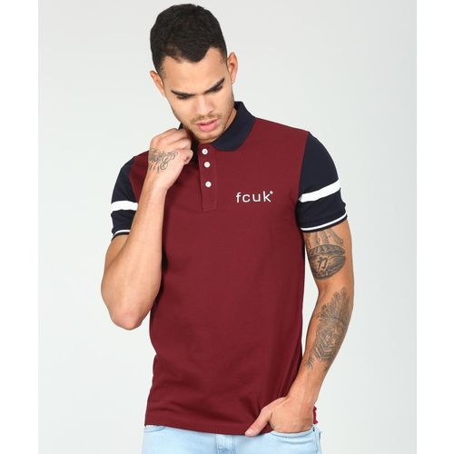 French Connection Solid Men's Polo Neck Maroon T-Shirt