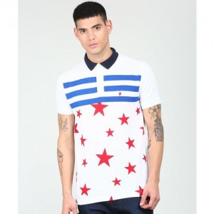 French Connection Printed Men's Polo Neck White T-Shirt