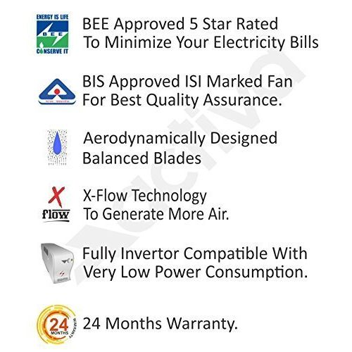 Activa 1200 MM high Speed 390 RPM bee Approved 5 Star Rated 100% Copper Galaxy-1 Anti Dust Coating Ceiling Fan Silver Blue-2 Year Warranty