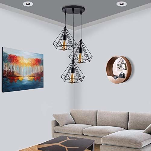 Homesake 3-Lights Round Cluster Chandelier Black Diamond Hanging Pendant Light with Braided Cord, Bulbs Not Included