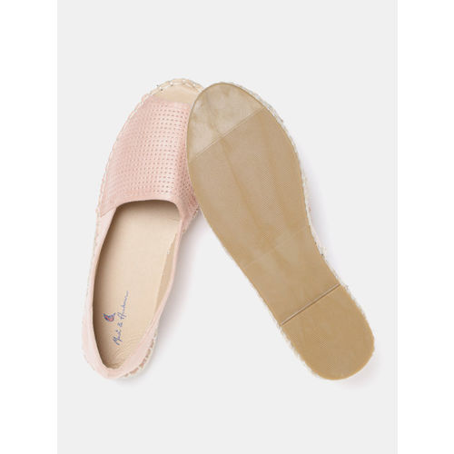 Mast & Harbour Women Peach-Coloured Perforated Peep Toe Espadrilles