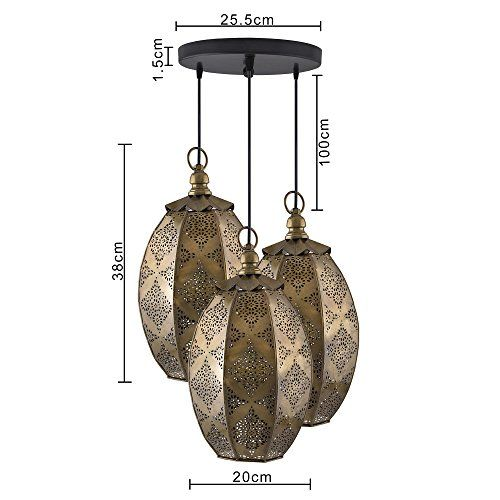 Homesake 3-Lights Round Cluster Chandelier Ceiling Antique Brass Finish Oval Moroccan Hanging Pendant Light with Braided Cord, Urban Retro, Nordic Style,