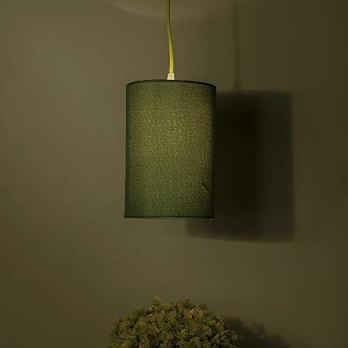Homesake Classic Cylinder Green Hanging Shade, Hanging Pendant Light with Fixture