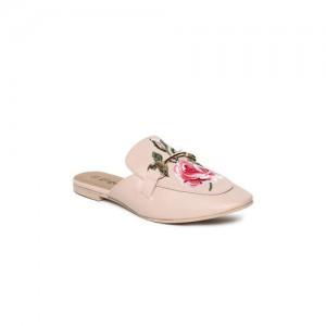 Ginger by Lifestyle Women Peach-Coloured Printed Mules