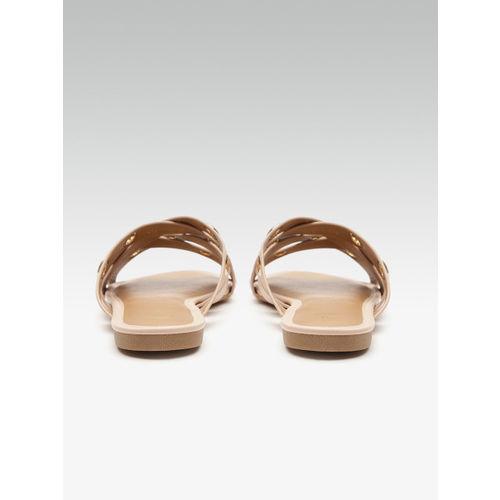 Carlton London Women Peach-Coloured Cut-Work Open Toe Flats
