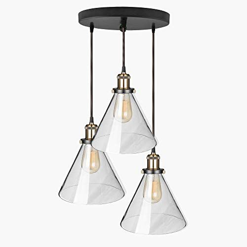 Homesake 3-Lights Round Cluster Chandelier Modern Glass Cone Shaped Hanging Light, E27 Holder, Decorative, Copper, Urban Retro, Nordic Style, LED/Filament Bulb