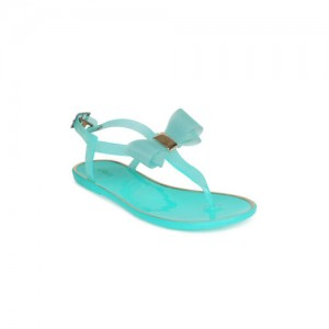 Lavie Women Sea Green Solid Synthetic T-Strap Flats