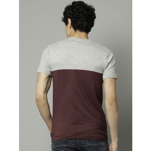 French Connection Men Grey & Burgundy Colourblocked Slim Fit Round Neck T-shirt